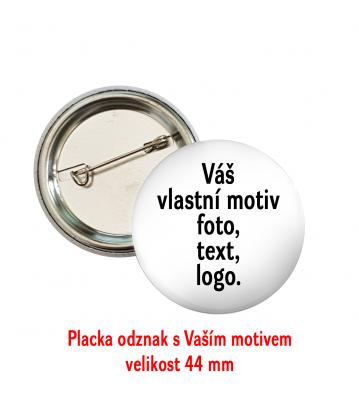 Odznak placka s potiskem fotkou logem