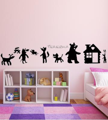 Zvířátka chaloupka se jménem samolepka na zeď