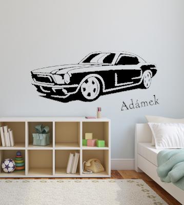 Auto mustang se jménem samolepka na zeď