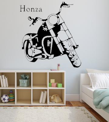 Motorka se jménem samolepka na zeď