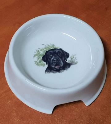 Porcelánová miska pro psy Labrador černý