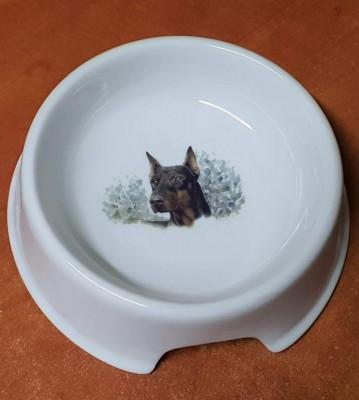 Porcelánová miska pro psy Dobrman