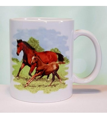 Hrnek dva koně na pastvině