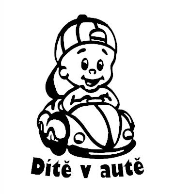 Dítě v autě Kluk v autíčku v autě samolepka na auto