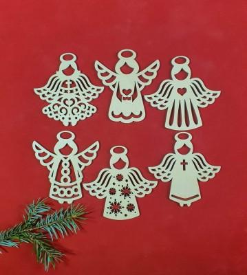 Vánoční andělé sada 6 ks