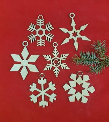 Vánoční sněhové vločky menší sada 6 ks verze2