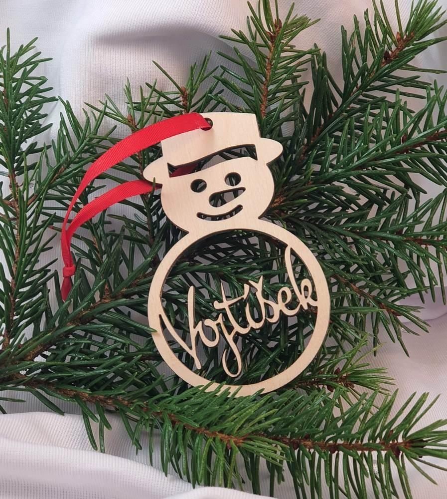 Vánoční ozdoba Sněhulák se jménem
