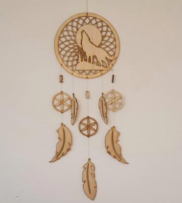 Lapač snů dřevěný Vlk