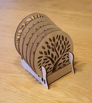 Podtácky se stojánkem kulaté strom 6 ks