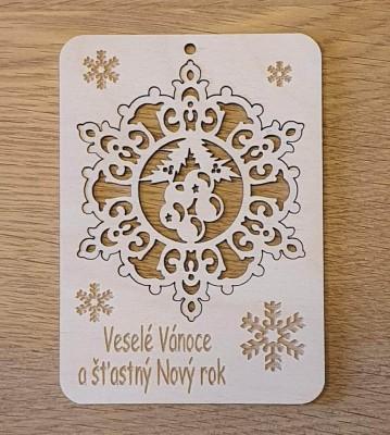 Vánoční přání s vyndávací ozdobou - vločka s ornamenty