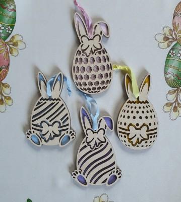 Velikonoční vajíčka dřevěná malovaná sada 4 ks