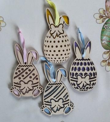 Velikonoční dřevěná vajíčka malovaná sada 4 ks