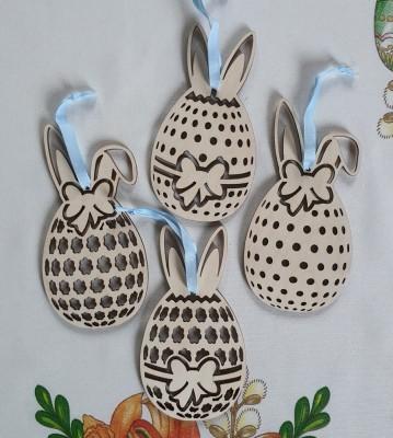 Velikonoční dřevěná vajíčka sada 4 ks