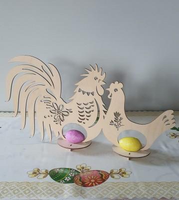 Velikonoční dřevěná dekorace na vajíčka Kohoutek a slepička