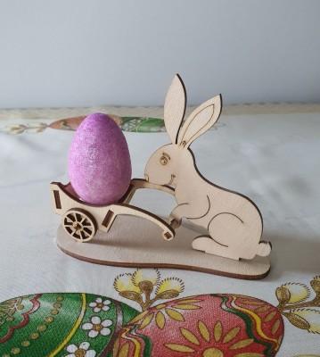 Velikonoční stojánek na vajíčka Zajíček s vozíkem