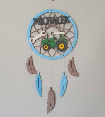 Lapač snů dřevěný se jménem Traktor zelený