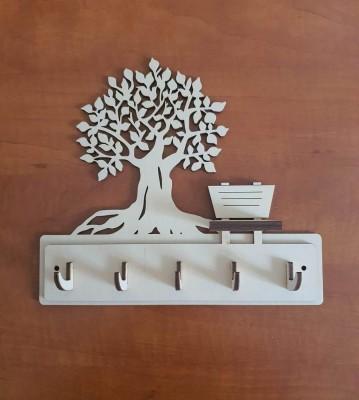 Věšák na klíče, věšák na utěrky Strom s lavičkou