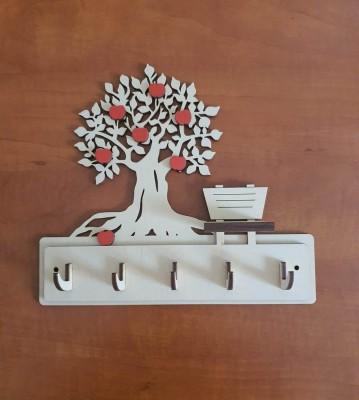 Věšák na klíče, věšák na utěrky Strom s lavičkou a jabkama