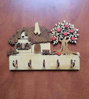 Věšák na klíče, věšák na utěrky Chaloupka se stromem a jablky