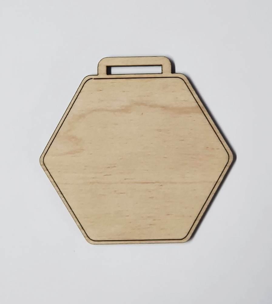 Medaile dřevěná šestihran vzor 1 polotovar , balení 30 ks nebo 50 ks