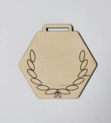 Medaile dřevěná šestihran vzor 3 polotovar , balení 30 ks nebo 50 ks