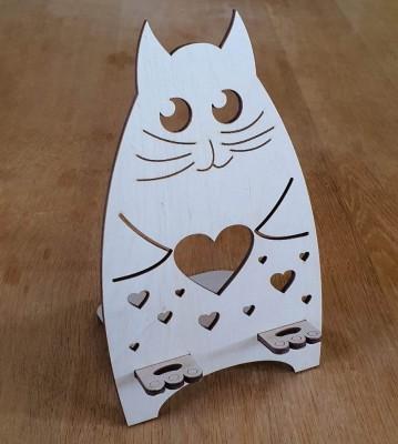 Stojánek na mobil Kočka srdce
