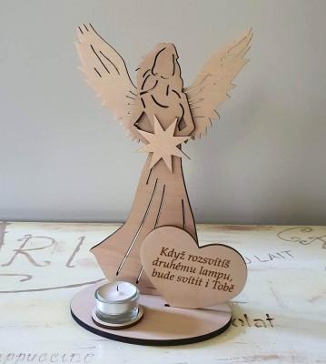 Svícen Anděl s citátem Když rozsvítíš lampu