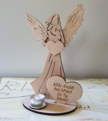 Svícen Anděl s citátem Můj anděl bez křídel jsi Ty Mami