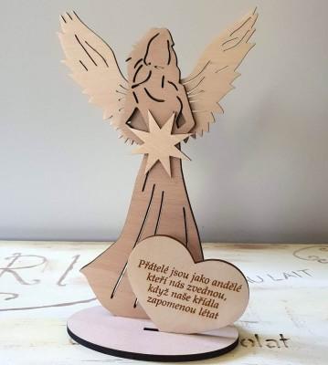 Anděl s citátem Přátelé andělé