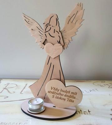 Svícen Anděl s citátem Vždy budeš mít strážného anděla Táta