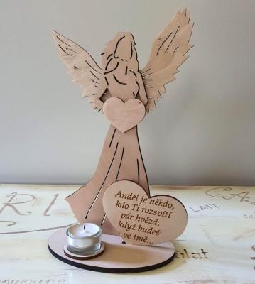Svícen Anděl s citátem Anděl je