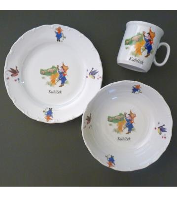 Dětská porcelánová sada 3 ks Kluk troubí