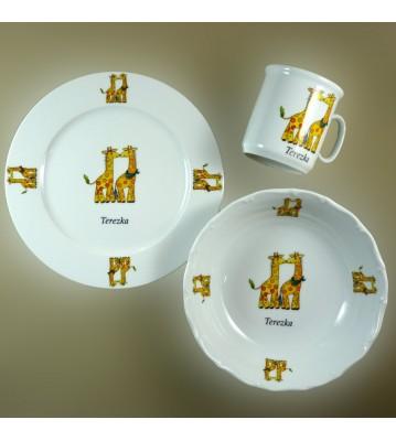 Dětská porcelánová sada 3 ks Žirafa